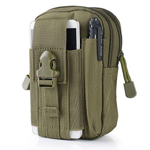 Wear-Resisting Taktisch Tasche - WinCret Außen Sport Leichtbau mit Hoher Kapazität Wasserdicht Nylon Molle Reißverschluss-Pack Utility Taille Tasche für Kleine Gegenstände Armeegrün