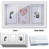 Cymax Marco de Fotos de Bebé,43 x 28 x 2 cm,Recuerdo Fotográfico de Huella de Bebé en Blanco con Almohadilla de Tinta No Tóxica y cristal de acrílico seguro para baby shower,regalo de cumpleaño