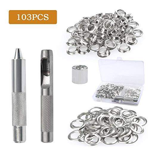 BUYGOO 103PCS Grommet Werkzeug Kit - 100PCS Grommet Ösen 2/5 Zoll 10mm Innen Durchmesser mit Lochwerkzeug, Grommet Einstell Werkzeug und Aufbewahrungsbox -