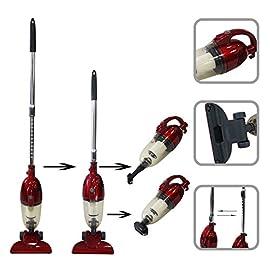 Todeco - Aspirapolvere 2 In 1 Bastone In Posizione Verticale E Portatile, Scopa Elettrica 2 in 1 - Capacità del contenitore raccogli polvere: 1,3 L - Potenza massima: 800 W - Rosso