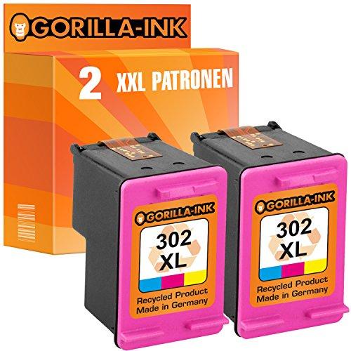 Gorilla-Ink 2x Druckerpatrone remanufactured für HP 302 XL Color mit Füllstandsanzeige und 163% mehr Inhalt! Officejet 3800 Series 3830 3831 3833 3834 3835