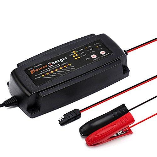 Batterieladegerät, Automatisches Batterie Ladegerät / Desulfator / Wartungsgerät 2/4/8 Ampere Batterie Lade- und Testgerät. für 12V Motorrad, PKW und LKW, Intelligentes Auto Batterieladegerät