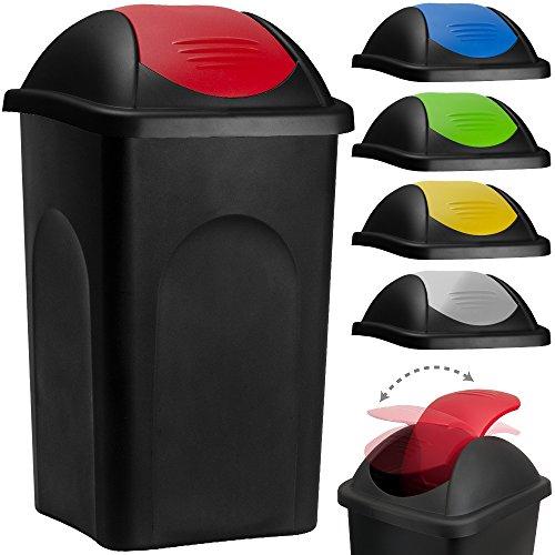 Stefanplast® Abfalleimer mit Schwingdeckel 60L schwarz/rot 68x41x41cm - Mülleimer Abfallbehälter Papierkorb made in Italy