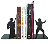 #2: Star Wars Princess Leia and Han Solo Metal Bookends, Perfect for Vertical Book Keeping, Table Books Stand