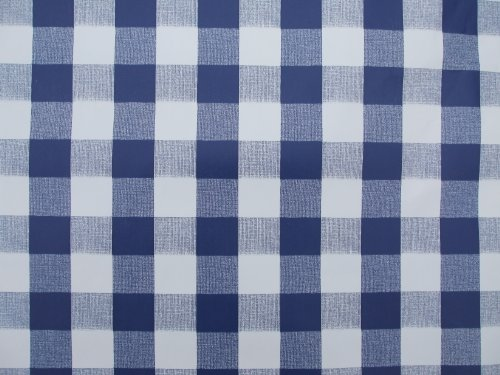 Table cloth 140 x 250 cm Ovale en PVC/Vinyle Nappe – Bleu avec Motif à Carreaux, Design