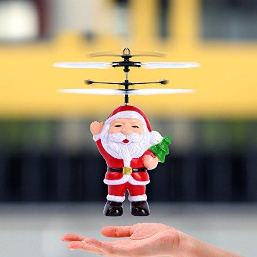 Neueste Weihnachtsgeschenk für Kinder, Baywell fliegende Weihnachtsmann Flugzeug Hubschrauber LED-Licht Spielzeug (Rot)