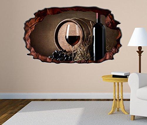 3D Wandtattoo Wein Flasche Rotwein Fass Trauben Glas selbstklebend Wandbild Tattoo Wohnzimmer Wand Aufkleber 11L285, Wandbild Größe F:ca. 97cmx57cm (Fass Glas Glas)