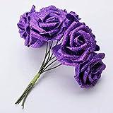 PANGUN 7Pcs Ramo Artificial Brillo Espuma Flores Artificiales Boda Nupcial Fiesta Decoración DIY Rosa-Azul Real