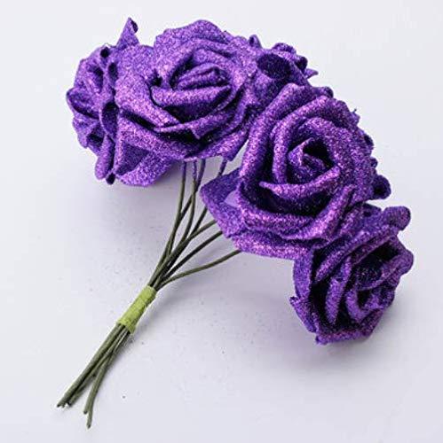 Amazon PANGUN 7Pcs Ramo Artificial Brillo Espuma Flores Artificiales Boda Nupcial Fiesta Decoración DIY Rosa-Azul Real