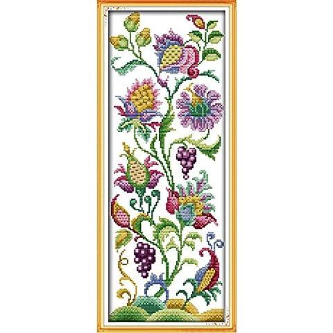 Anself DIY Kit de punto de cruz de algodón superior de Flores hermosos hecho a mano de 14CT para la decoración del