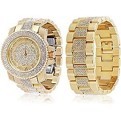 Herren Extra Groß Vergoldet Rund Klar Iced Out Lünette drehbar geschoben Hip Hop Bling Armbanduhr + Armband Set