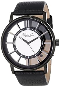 Kenneth Cole - KC1752 - Transparency - Montre Homme - Quartz Analogique - Cadran Blanc - Bracelet Cuir Noir