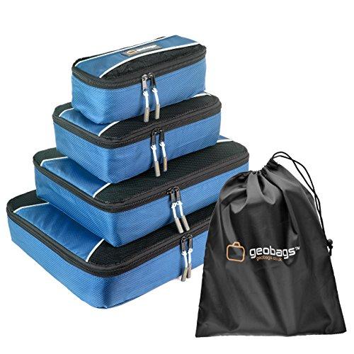 GeoBags® Premium Packwürfel – Stautaschen zum Organisieren des Reisegepäcks – 5er-Set - Schuhbeutel – Vollständig gefüttert – Hochwertige YKK-Reißverschlüsse – Größen S, M, L und XL (Hellblau)