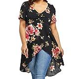 OSYARD Damen Große Größe T-Shirt,Frauen Sommer Bluse mit Blumendruck, Kurzarm Lange Unregelmäßig Hemd mit Coolem Druck
