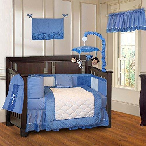 BabyFad Minky Blue 10 Piece Boys Baby Crib Bedding Set (Including Musical Mobile)