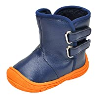 LACOFIA Toddler Boys Girls Anti-Slip Rubber Sole Waterproof Winter Warm Snow Boots Navy 4 UK/12-18 Months