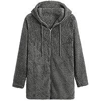 JiaMeng Abrigo de Manga Larga Fleece Zipper Fly Sudaderas de Color sólido con Capucha de Lana cálida Cremallera Abrigo
