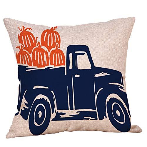 Hjgshd Happy Halloween Kissenbezüge Baumwolle Leinen Kürbis Ghosts Kissenbezug Für Sofa Schlafzimmer Wohnkultur (E)