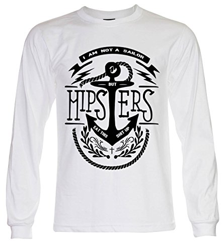 PALLAS Unisex's Sailor Anchor Hipster Vintage T Shirt White Long Sleeve