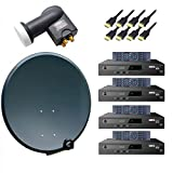 PremiumX Komplett 4 Teilnehmer Digital Sat Anlage Schüssel 80cm Antenne Spiegel mit Quad LNB 0,1dB 4K + 4x HDTV Digital Receiver inkl. HDMI-Kabel
