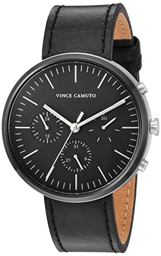 Vince Camuto Men's VC/1097BKTB Multi-Function Black Leather Strap Watch