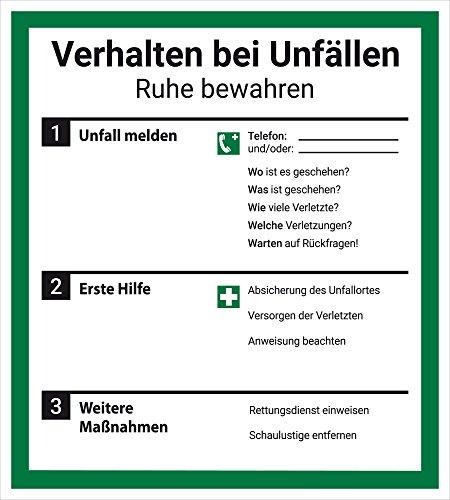 Schild Aushang Verhalten bei Unfällen, 18x20cm, mit UV-Schutz, PVC-Aufkleber, ISO 7010, Unfall Betriebsaushang Dreifke®