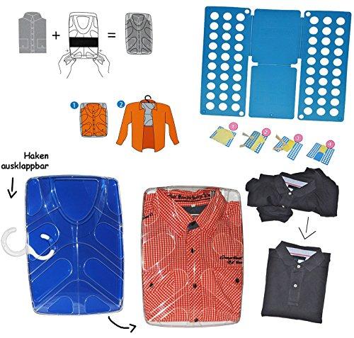 Wäschefalter + Hemdenbox - blau - aus Kunststoff - kein Hemden knittern mehr - Reisebox - Gepäck - Reisen / Geschäftsreise - Tasche - Box Kiste incl. Kleiderbügel - Hemdentasche - Herren & Damen - Shirtbox - Flugreise / Urlaub - Anzüge / Anzug