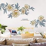 CFLEGEND 3D Wandaufkleber Muster Große Retro Blume Schlafzimmer Nachtwandaufkleber Ornament Literarischen Wohnzimmer Sofa Tv Hintergrund Wandaufkleber 99X210 cm