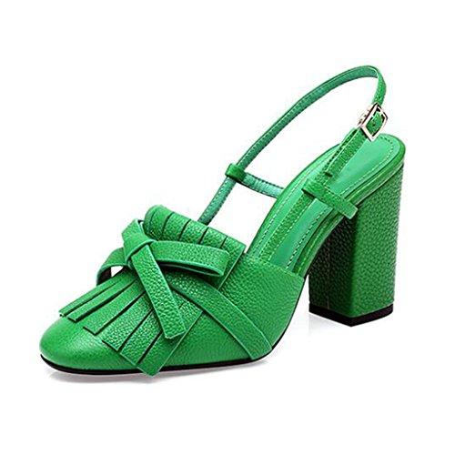 MUMA Pumps Square Head High-Heeled Sandalen 2018 Frühling und Sommer schwarz gelb grün Schuhe mit dicken Heels Sandalen Damenmode Quasten Baotou (Farbe : Grün, größe : EU39/UK6/CN39) -