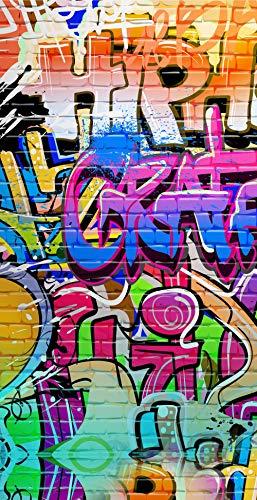 Aminata Kids - Strandtuch Graffiti-Motiv 75x150 cm bunt Mikrofaser Mädchen Jungen | cool-es
