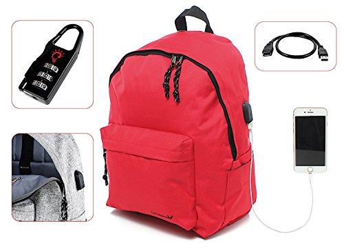 Preisvergleich Produktbild Leonardo Rucksack Casual Klassische Gepolsterte portaPC mit Taschen und Stecker USB,  24 l für Schule,  Wandern und Reisen. Tetto Curvo rot