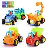 Amy & Benton Auto Giocattolo per Bambini, 4 Pezzi Set Giocattolo per Auto spingi e Vai, Veicoli di Costruzione Camion, Giocattoli educativi precoci Regalo per Bambino, 3+ Anni