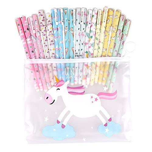 Faburo - Lote de 20 bolígrafos de unicornio y 1 bolsita, diseño de unicornio