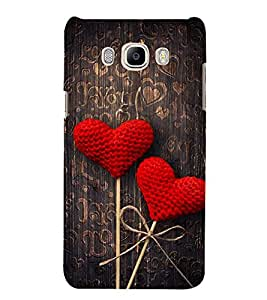 FUSON Red Fabric Heart 3D Hard Polycarbonate Designer Back Case Cover for Samsung Galaxy J7 (6) 2016 :: Samsung Galaxy J7 2016 Duos :: Samsung Galaxy J7 2016 J710F J710Fn J710M J710H