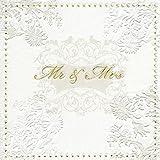 Servdeko Serviette Servietten Hochzeit Mr&Mrs Gold oder Silber edel 33x33 cm 3-lagig passende Kerzen zusätzlich zur Auswahl Gold oder Silber (Auswahl Servietten Mr&Mrs Gold)