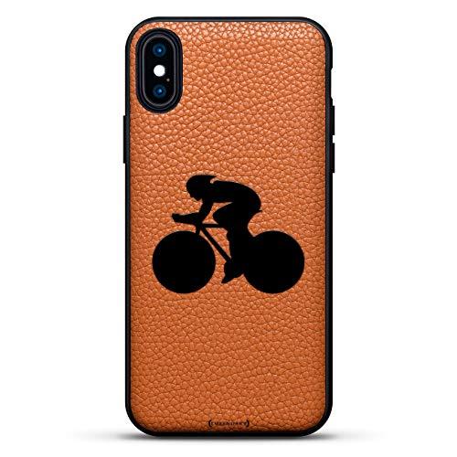 Sport: Fahrrad-Racer-Silhouette, Luxendary Leather Series Slim Edition Schutzhülle mit Echtlederrückseite und 3D-Druckdesign für iPhone XS Max (16,5 cm), Clay Brown