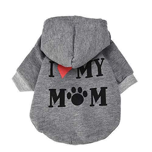 (EUZeo Schönes Kleiner Hund Kleidung I Love Mom Kostüm Welpen Baumwollmischung T-Shirt Kleid Kleine Katze Kleiner Hund Haustierbekleidung Haustier Kapuzenpullover Hundepullover Katzenpullover)
