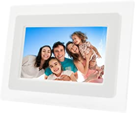 Fding 7 Inch TFT LCD Wide Screen Digital 2000 Photos Display Frame with Calendar Support Tf Sd /Sdhc /Usb Flash Drives(white)- Support 32GB SD Card