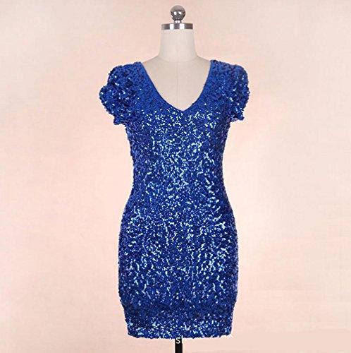 Wgwioo Kleid Pailletten Sexy Latin Dance Kleid Mit V-Ausschnitt , Blue , F (Netto-short-partei-kleid)