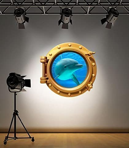 Full Colour Brass Porthole Dolphin V2 Under Water Bathroom Kids