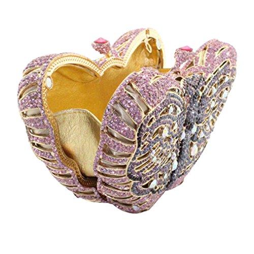Frizione Delle Donne Di Lusso Di Cristallo Farfalla Dei Sacchetti Di Frizione Di Sera Della Borsa Purple