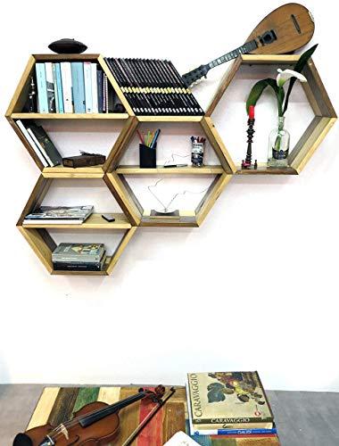 Sechseckiges Regal, Wandmontiertes Wabenregal, aus Tannen <> Brettern 55 cm Durchmesser und 20 cm Tiefe <> Upcycling-Design, Bücherregal, Regal.egal, Holzregal, Geometrisch, Kristall, Regal