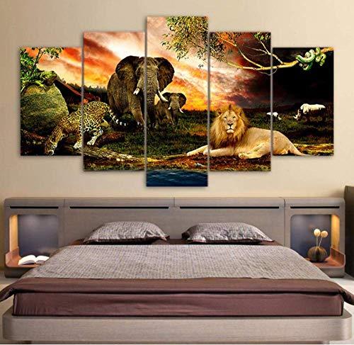 SCLWFJ Wandkunst Leinwand Gemälde Löwe Elefant Gepard 5 Stück Und Drucke Modulare Tiere Plakatrahmen, 40x60 40x80 40x100 cm Wulian malerei