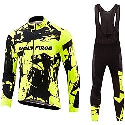 Uglyfrog Designs Ciclismo Jersey Hombres Bicicleta Ropa Camiseta de la Bicicleta Top MTB Jersey Manga Larga Invierno Fleece Warm Verano,Ciclismo Bodies with Largo Correa Pantalones TZD01