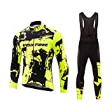 Uglyfrog Fahrradbekleidung Set Winter Herren Lang MTB Radsport Anzüge Warm halten with Fleece Langarm-Radsport-Trikot+Lange Lätzchen Dicht with Gel Pad Breathable Classic