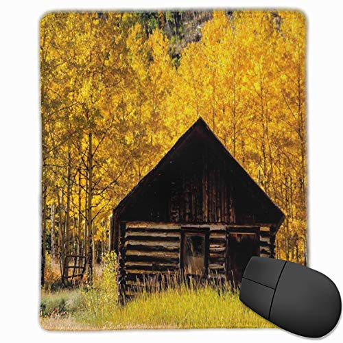 Aspen Labs (Mouse Mat Stitched Edges, Abandoned Wooden Farmhouse In Fall With Aspen Trees Rural Pastoral Nature Scene,Gaming Mouse Pad Non-Slip Rubber Base)