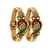 #9: Zeneme Dancing Peacock Antique Gold Plated Bangle set for women