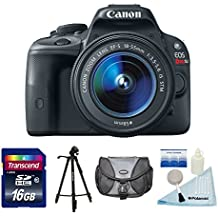 Canon EOS Rebel SL1 (Black) 18.0 MP CMOS Digital SLR Black With 18-55mm EF-S Is STM Lens + 16 GB SDHC SD Card + 50 Inch Tripod + DSLR Shoulder Bag + 5 Piece Camera Cleaning Kit