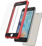Mobilyos iPhone 6s 360 Grad Hülle mit Panzerglas, [Stoßfester, Silikon Bumper ] [ Rot und Schwarz ] iPhone 6 Case, Schutzhülle mit Grau-Transparenter Rückseite