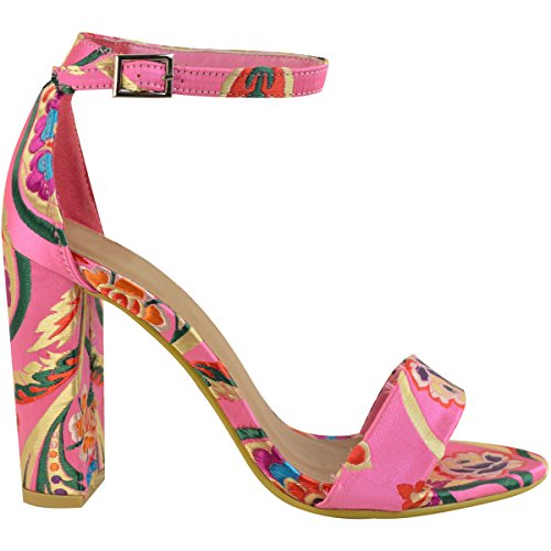 Fashion Thirsty Donna Floreale blocco TACCHI ALTI caviglia sandali con cinturino scarpe da sera ROSA ACCESO satin